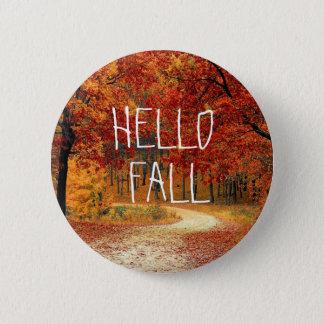 Badge Rond 5 Cm Bonjour bouton de feuille d'automne d'automne joli