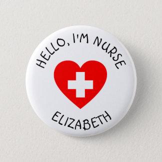 Badge Rond 5 Cm Bonjour bouton personnalisé de l'infirmière Im
