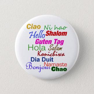 Badge Rond 5 Cm Bonjour dans le Pin de bouton de beaucoup de