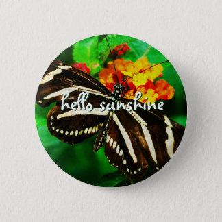 """Badge Rond 5 Cm """"Bonjour photo noire et blanche de papillon de"""