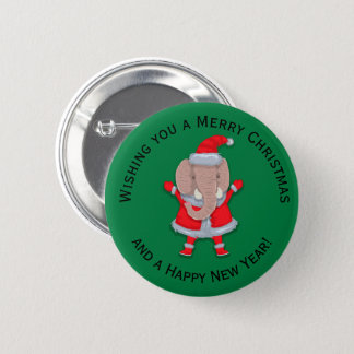 Badge Rond 5 Cm Bonne année mignonne de Joyeux Noël d'éléphant de