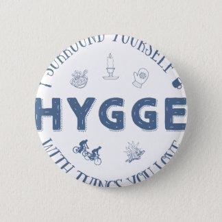 Badge Rond 5 Cm Bordure vous-même W. Hygge (texte bleu-foncé)