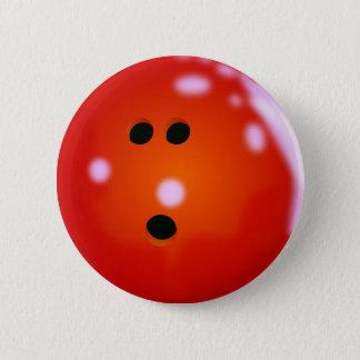 Badge Rond 5 Cm Boule de bowling (rouge)