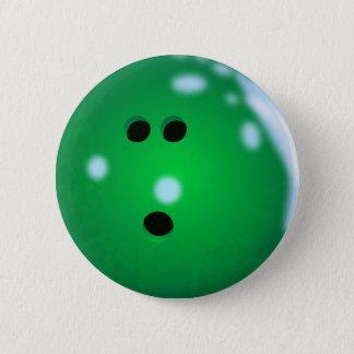 Badge Rond 5 Cm Boule de bowling (vert)