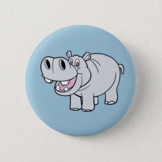 Badge Rond 5 Cm Bouton Animated d'hippopotame