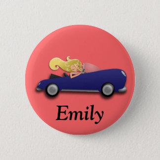 Badge Rond 5 Cm Bouton bleu personnalisé de voiture et de fille