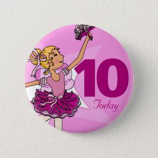 Badge Rond 5 Cm Bouton blond rose pourpre d'anniversaire de fille