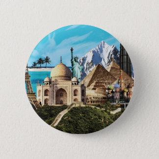 Badge Rond 5 Cm bouton coloré de collage de voyage de 7 merveilles