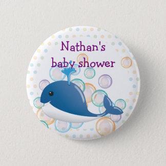 Badge Rond 5 Cm Bouton de baleine bleue, bouton de baby shower