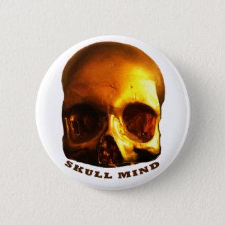 Badge Rond 5 Cm Bouton de blanc d'esprit de crâne d'or