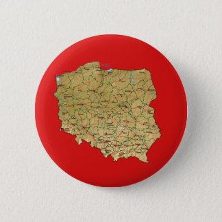 Badge Rond 5 Cm Bouton de carte de la Pologne