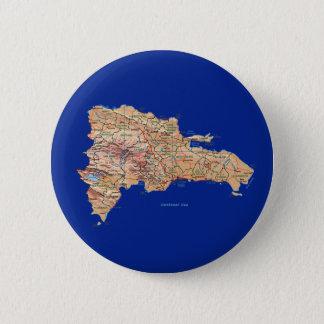 Badge Rond 5 Cm Bouton de carte de la République Dominicaine