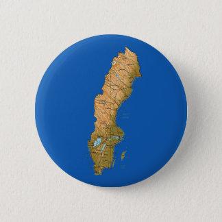 Badge Rond 5 Cm Bouton de carte de la Suède