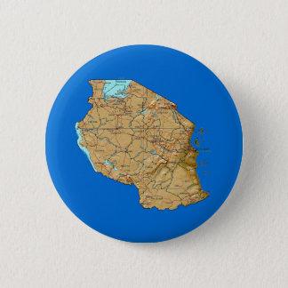 Badge Rond 5 Cm Bouton de carte de la Tanzanie