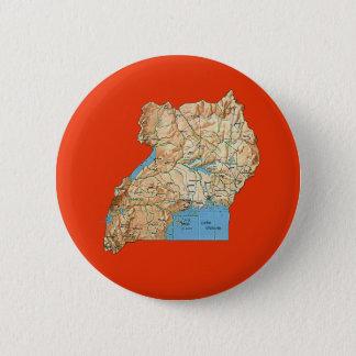 Badge Rond 5 Cm Bouton de carte de l'Ouganda