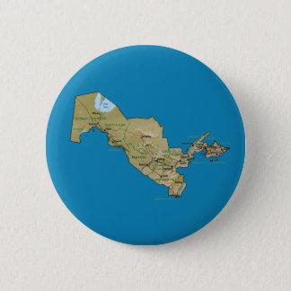 Badge Rond 5 Cm Bouton de carte de l'Ouzbékistan
