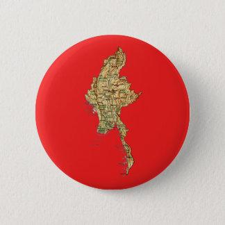 Badge Rond 5 Cm Bouton de carte de Myanmar