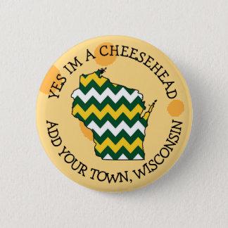 Badge Rond 5 Cm Bouton de Cheesehead d'humour du Wisconsin