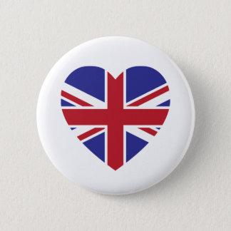 Badge Rond 5 Cm Bouton de coeur d'Union Jack