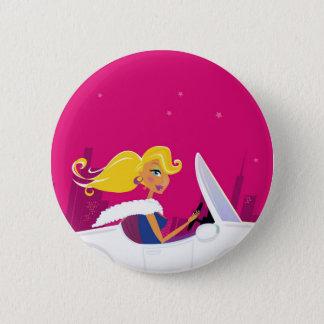 Badge Rond 5 Cm Bouton de concepteurs avec la fille blonde