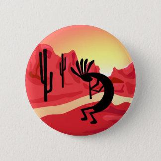 Badge Rond 5 Cm Bouton de coucher du soleil de désert de Kokopelli