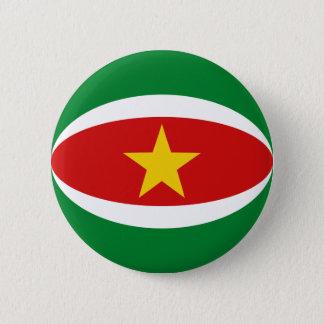 Badge Rond 5 Cm Bouton de drapeau du Surinam Fisheye