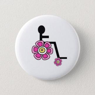 Badge Rond 5 Cm Bouton de fauteuil roulant de flower power