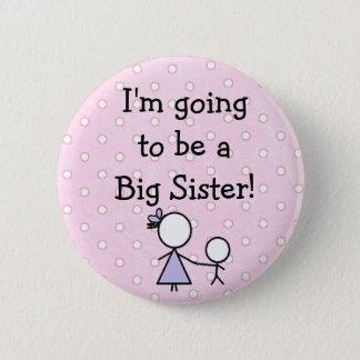 """Badge Rond 5 Cm Bouton de """"grande soeur"""", rose avec les points de"""