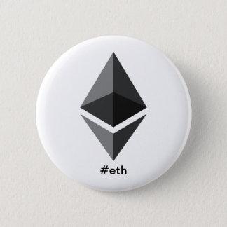 Badge Rond 5 Cm Bouton de Hashtag de logo d'Ethereum
