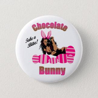 Badge Rond 5 Cm Bouton de lapin de chocolat