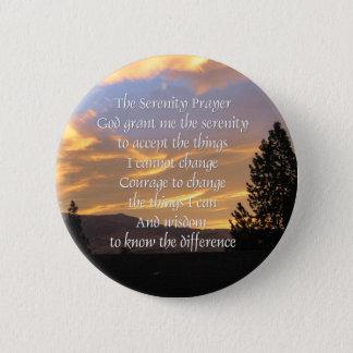 Badge Rond 5 Cm Bouton de lever de soleil de prière de sérénité