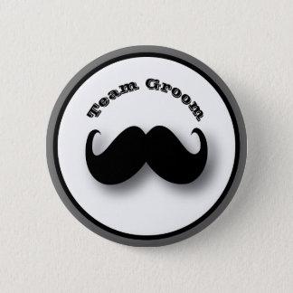 Badge Rond 5 Cm Bouton de moustache - marié d'équipe