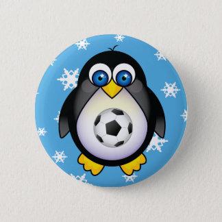 Badge Rond 5 Cm Bouton de Noël du football de pingouin