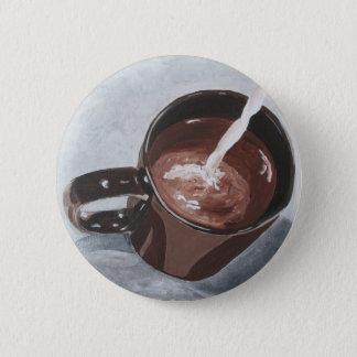 Badge Rond 5 Cm Bouton de peinture de tasse de café - argent et or