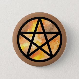 Badge Rond 5 Cm Bouton de pentagramme d'aquarelle de noir