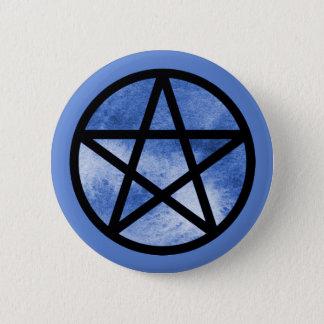 Badge Rond 5 Cm Bouton de pentagramme d'aquarelle de noir bleu