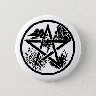 Badge Rond 5 Cm Bouton de pentagramme d'élément