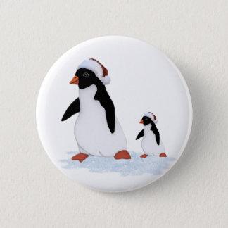Badge Rond 5 Cm Bouton de pingouins de Père Noël
