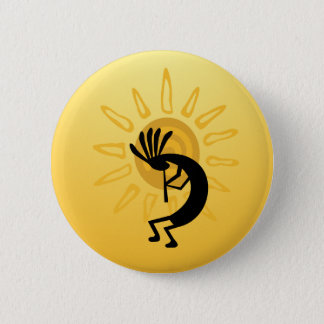 Badge Rond 5 Cm Bouton de Sun d'or de Kokopelli
