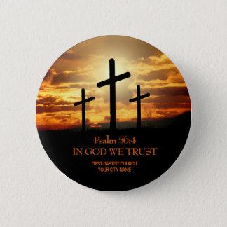 Badge Rond 5 Cm Bouton d'église chrétienne de trois croix