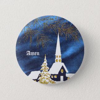 Badge Rond 5 Cm Bouton d'église de Noël de Milou amen
