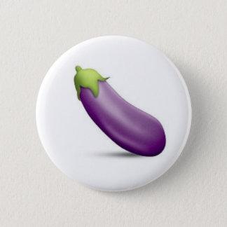 Badge Rond 5 Cm Bouton d'Emoji d'aubergine