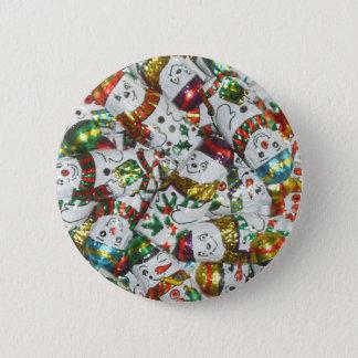 Badge Rond 5 Cm Bouton doux de bonhommes de neige