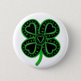Badge Rond 5 Cm Bouton du jour de trèfle de St Patrick vert noir