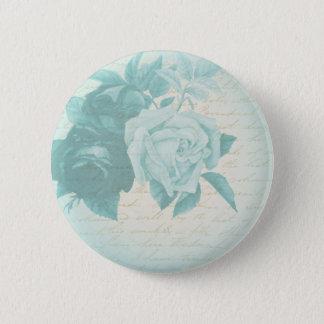 Badge Rond 5 Cm Bouton élégant floral de rose de cru dans le bleu