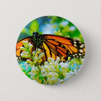 Badge Rond 5 Cm Bouton en gros plan orange de photo de papillon de