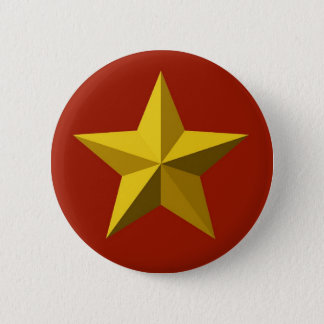 Badge Rond 5 Cm Bouton - étoile d'or