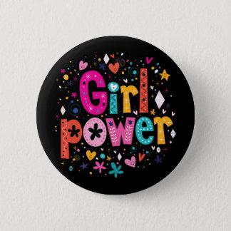 Badge Rond 5 Cm Bouton floral de coeur de puissance de fille