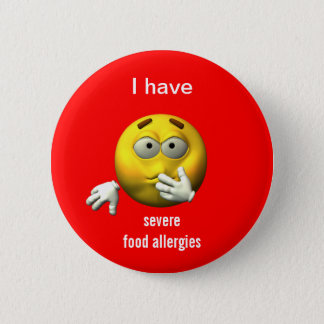 Badge Rond 5 Cm Bouton grave d'allergies alimentaires
