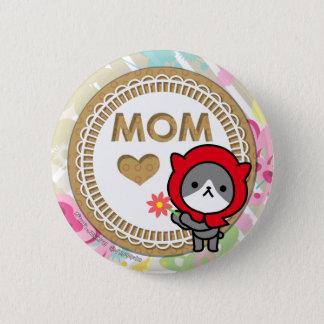 Badge Rond 5 Cm Bouton heureux du jour de mère - Kitty